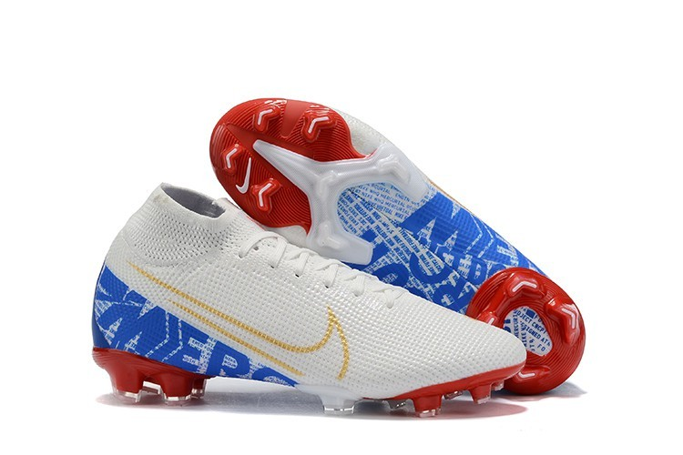 Football Nike Mercurial Superfly VII Elite FG-White Blue Red Gold Right