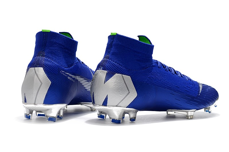 Nike Mercurial Superfly VI 6 Elite FG-Silver Blue Heel