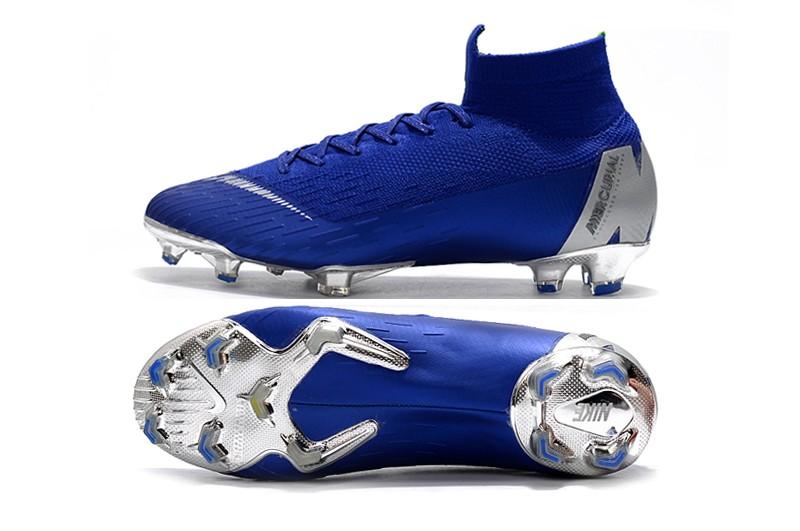 Nike Mercurial Superfly VI 6 Elite FG-Silver Blue Sole