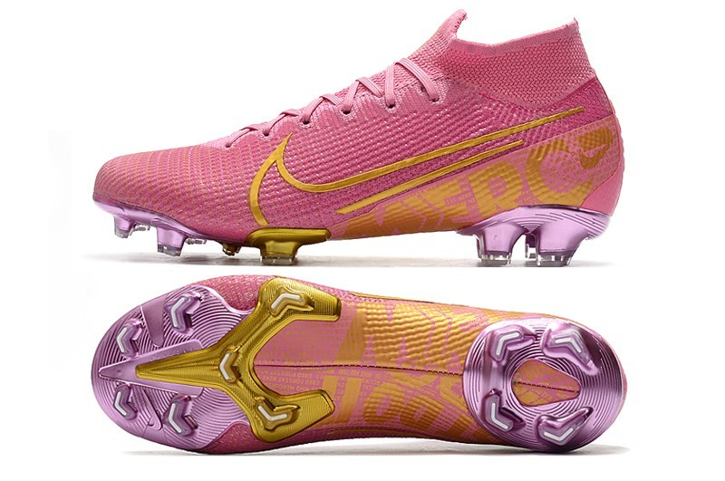 Nike Mercurial Superfly VII Elite FG Ballon d'Or Sell Retail - Pink Purple Gold Shoe spike