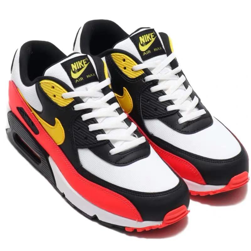 Nike Air Max 90 White Chrome Yellow Black Bright Crimson Upper