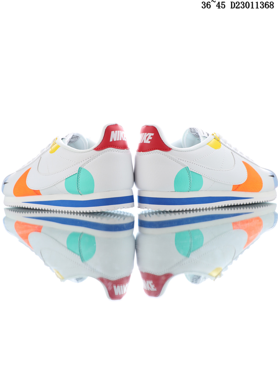 Nike Classic Cortez Running Shoes Color Blue White Orange Behind
