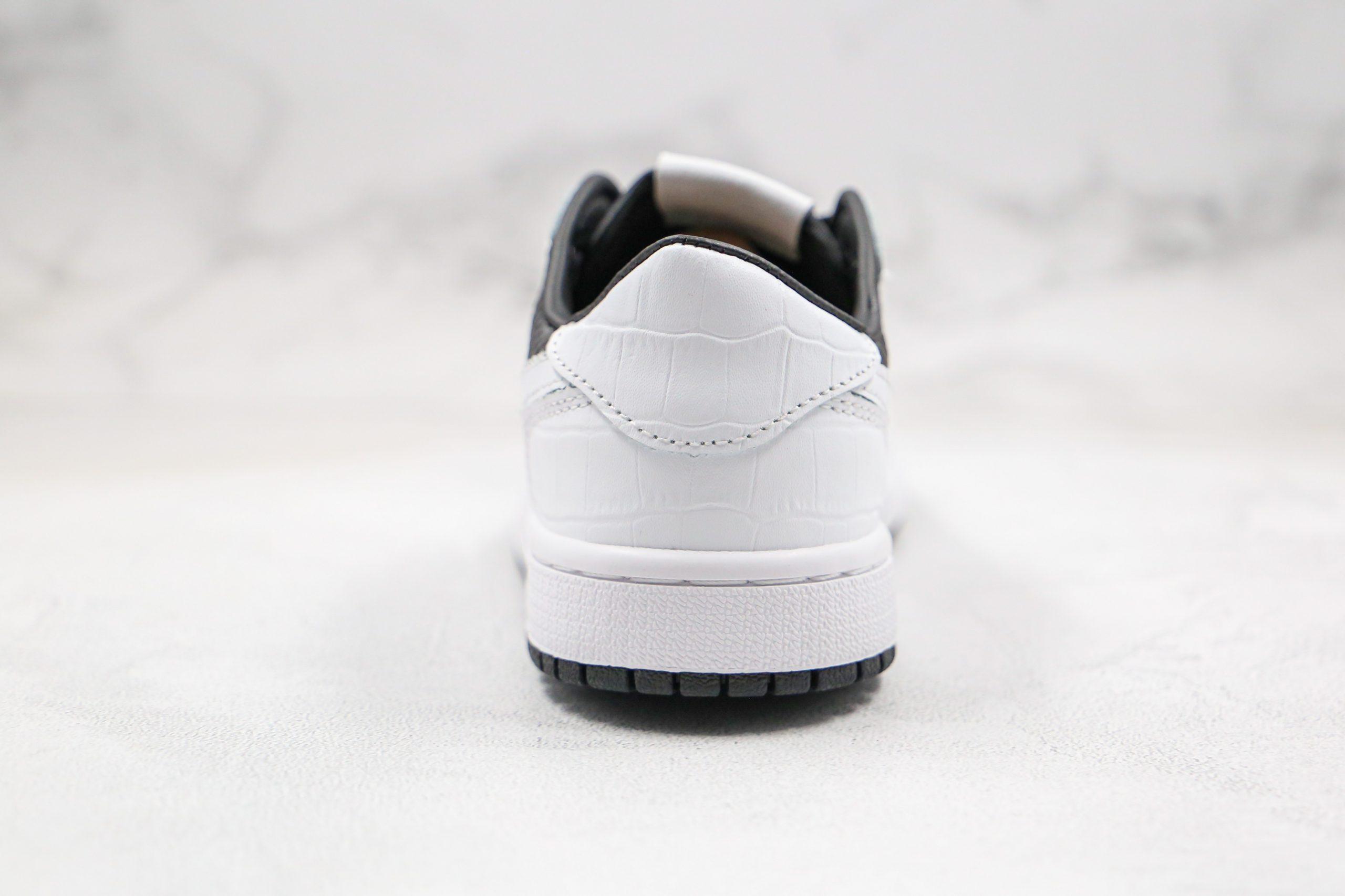 ordan Low Gang AJ1 Black White Yin Yang Tai Chi Snake Pattern Heel