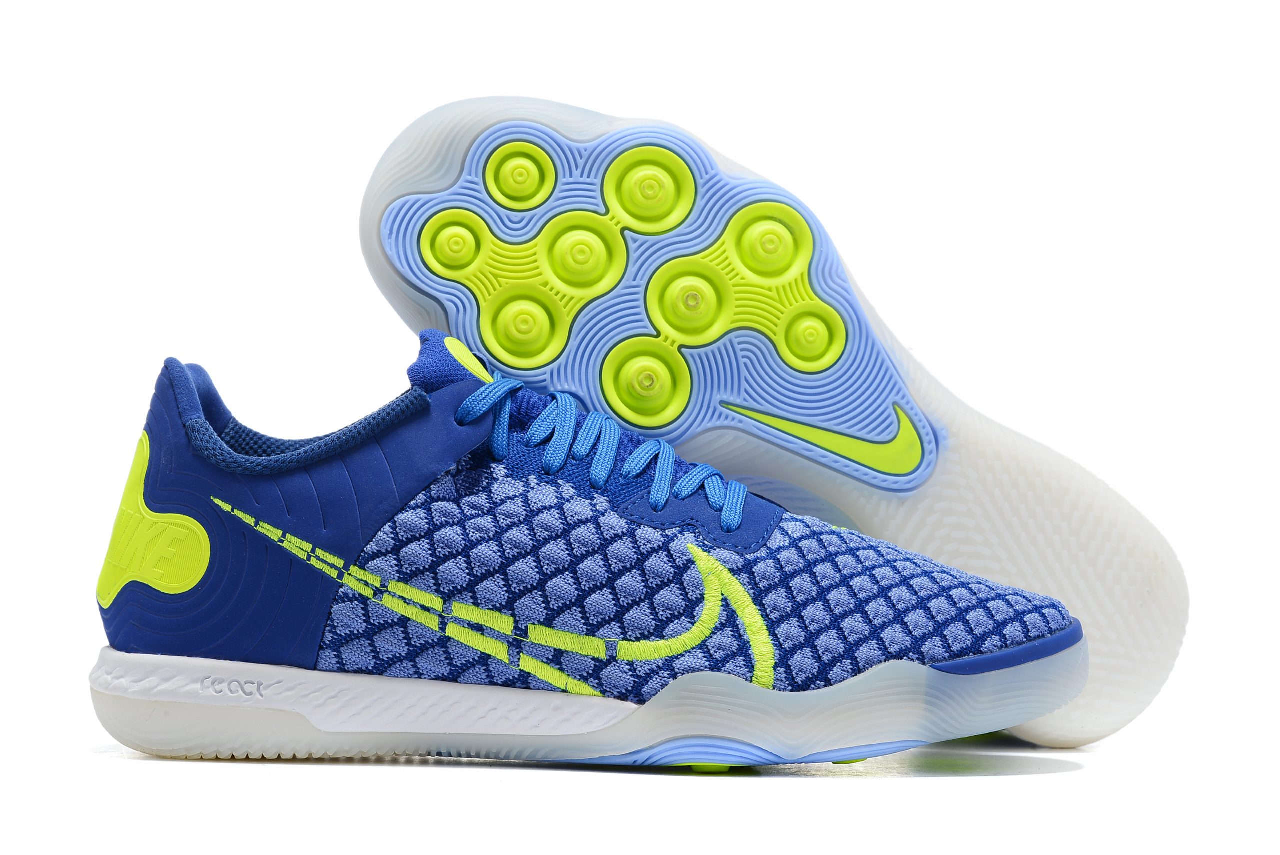 Nike Reactgato IC blue and yellow football boots Outside