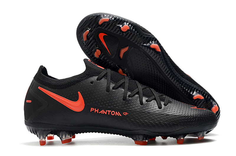 Nike Phantom GT black and red waterproof fully knitted FG football boots side