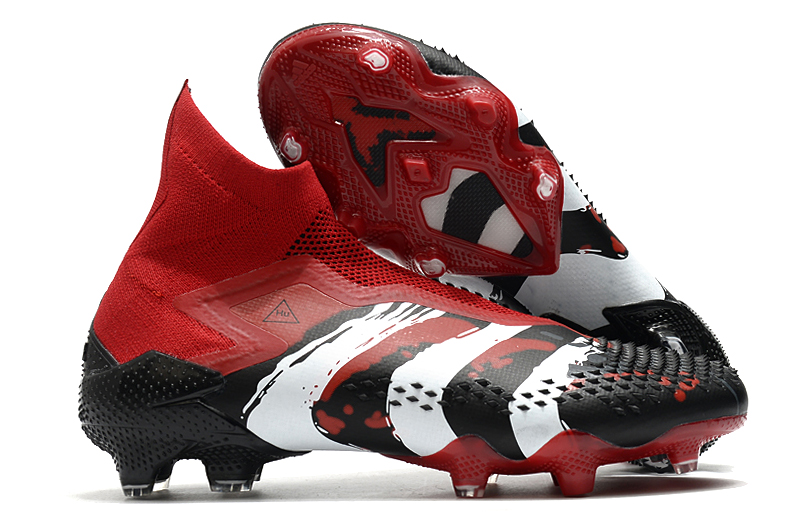 adidas Predator Mutator 20 + red, white and black football boots Outside
