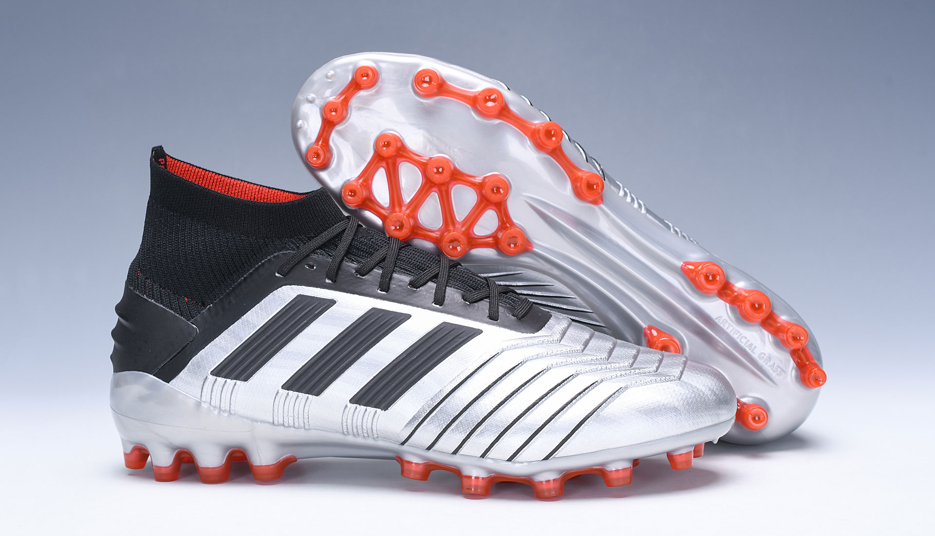 adidas Predator 19.1 AG Silver Red Football Boots right