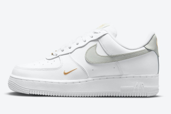Nike Air Force 1 Low Mini Swoosh Gray/White/Gray Gold For Sale ...
