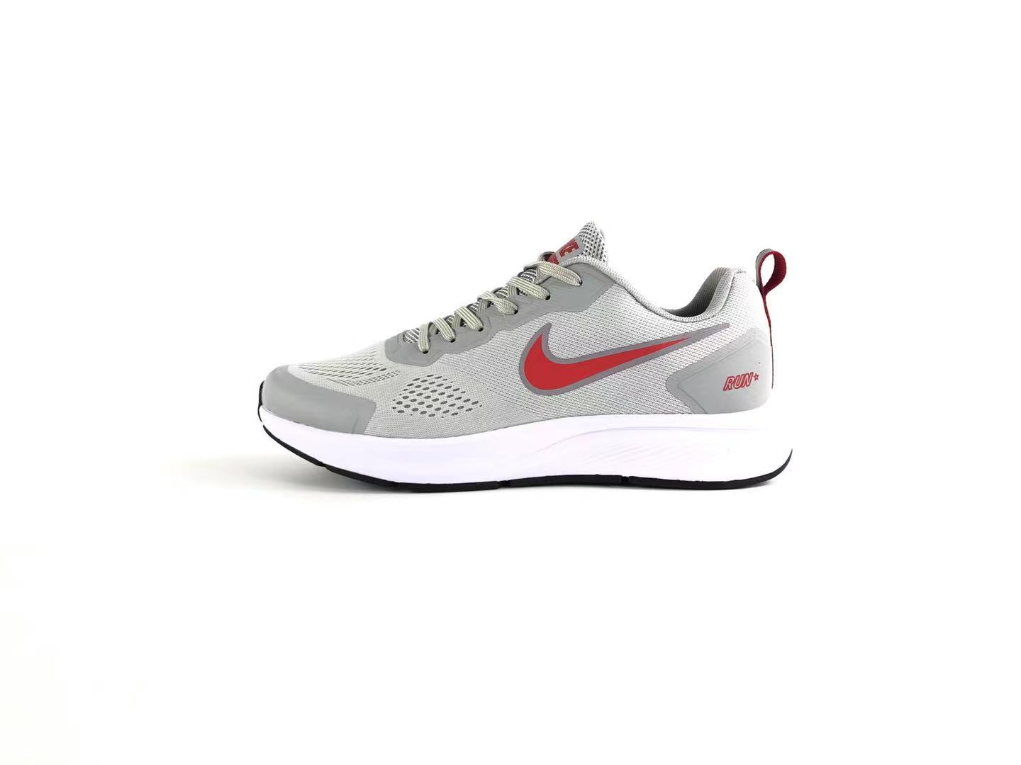 Nike Air Zoom 27 Jacquard Breathable Light Gray Red Running Shoes Left