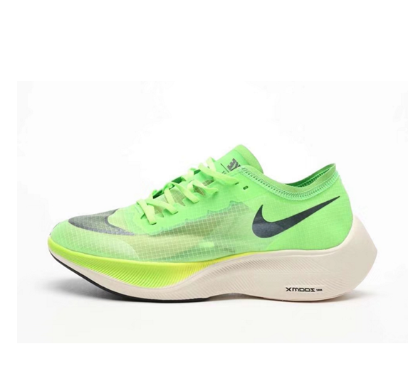 Nike Vaporfly Next% green jogging shoes Left