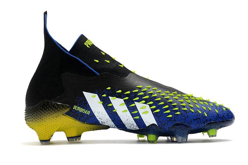 adidas Predator Freak + FG Football Boots Blue Core Black White Sun Yellow Right