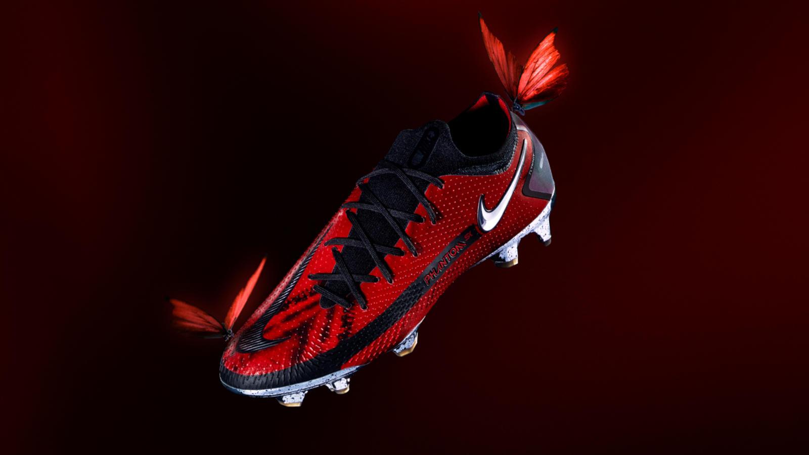 Football boots on feet