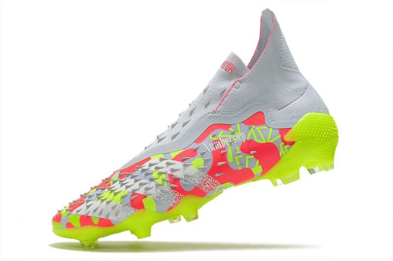 2021 Adidas PREDATOR FREAK + FG white and yellow football boots Left