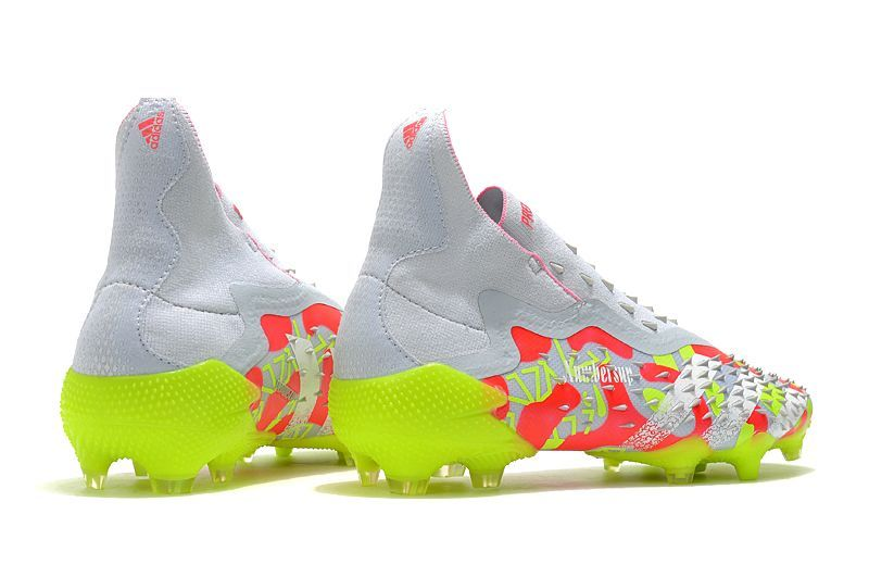 2021 Adidas PREDATOR FREAK + FG white and yellow football boots Outside