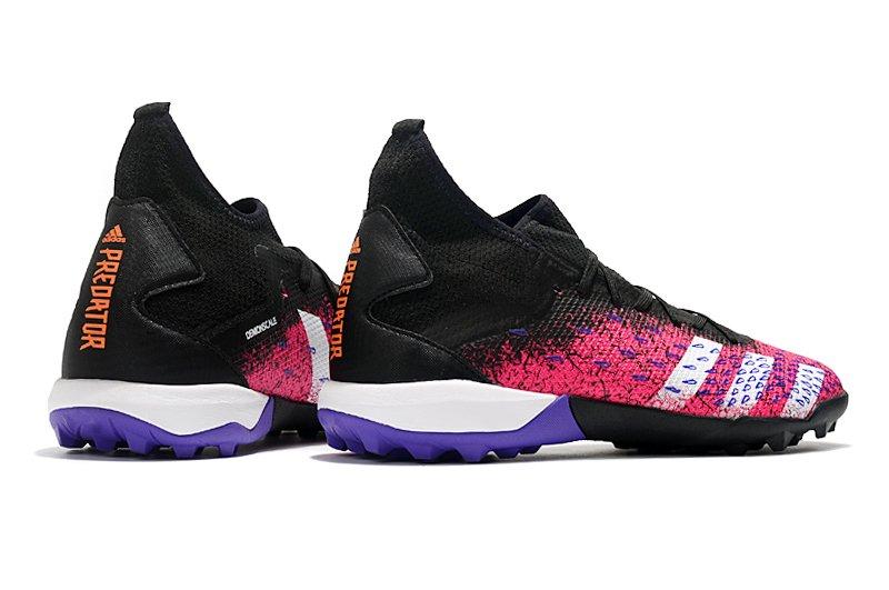Adidas PREDATOR FREAK .3 TF black pink rivet football shoes Left Back heel
