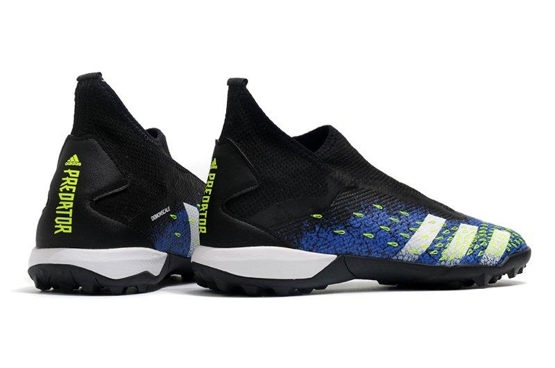 adidas Predator Freak3 Laceless TF Black Blue Football Boots Back heeladidas Predator Freak3 Laceless TF Black Blue Football Boots Back heel