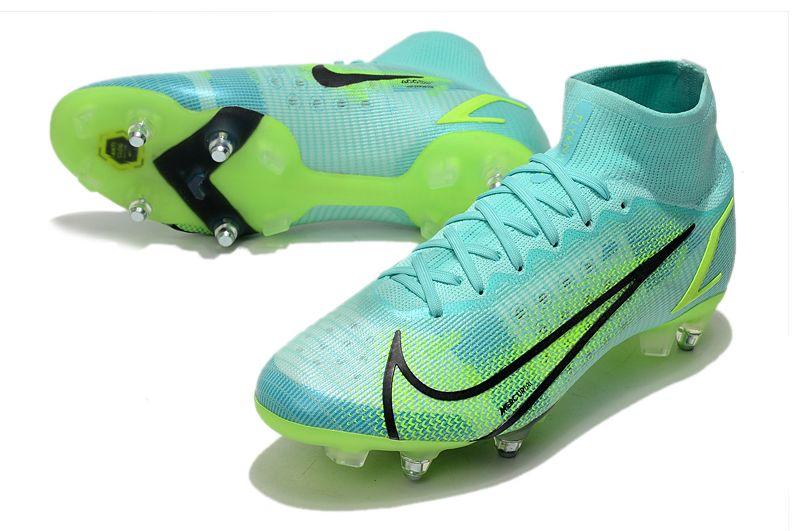 2021 Nike Mercurial Superfly VIII Elite SG PRO Anti Clog blue, green and black football shoes vamp