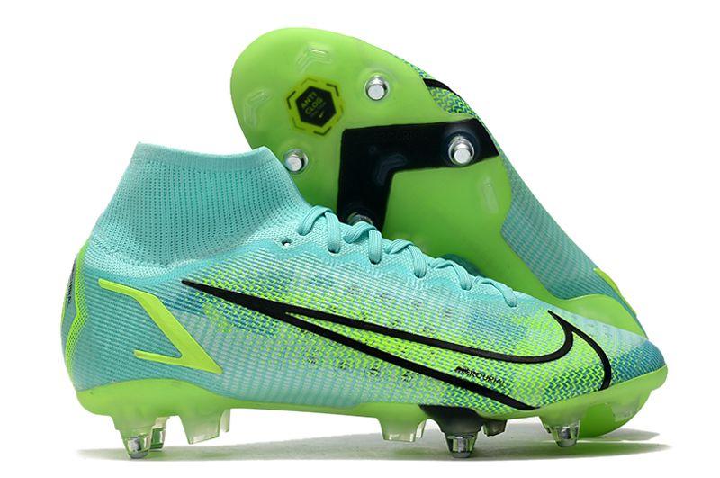 2021 Nike Mercurial Superfly VIII Elite SG PRO Anti Clog blue, green and black football shoes