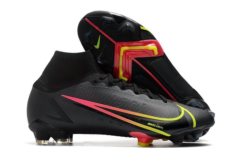 Nike Superfly 8 Elite FG black yellow red football shoes side