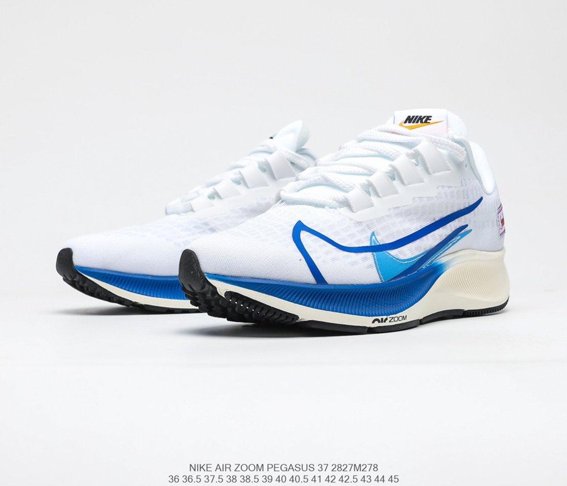 2021 Nike Air Zoom Pegasus 37 Premium White Game Royal Running Shoes CQ9908-100 overal