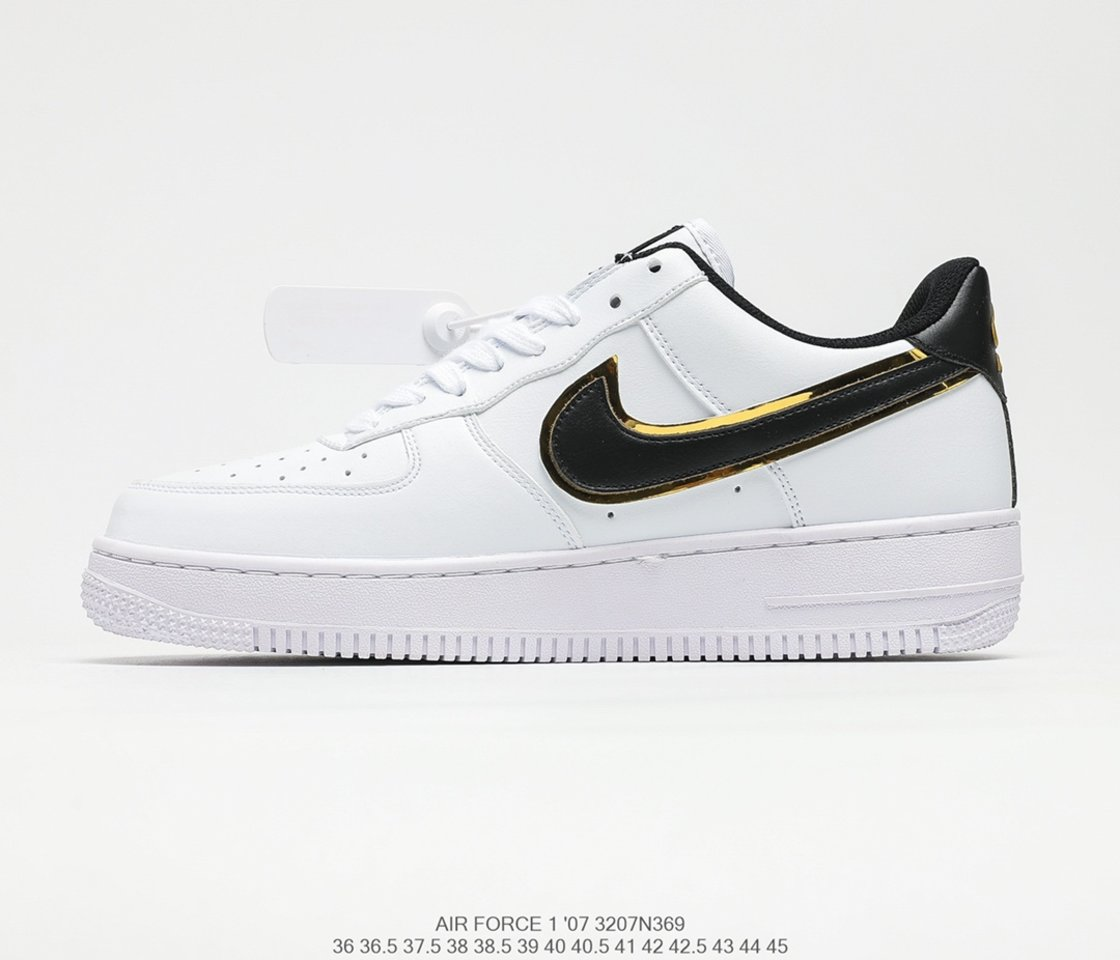 2021Hot Sale Nike Air Force 1 Low White Black Gold Double Swoosh DA8481-100 Left