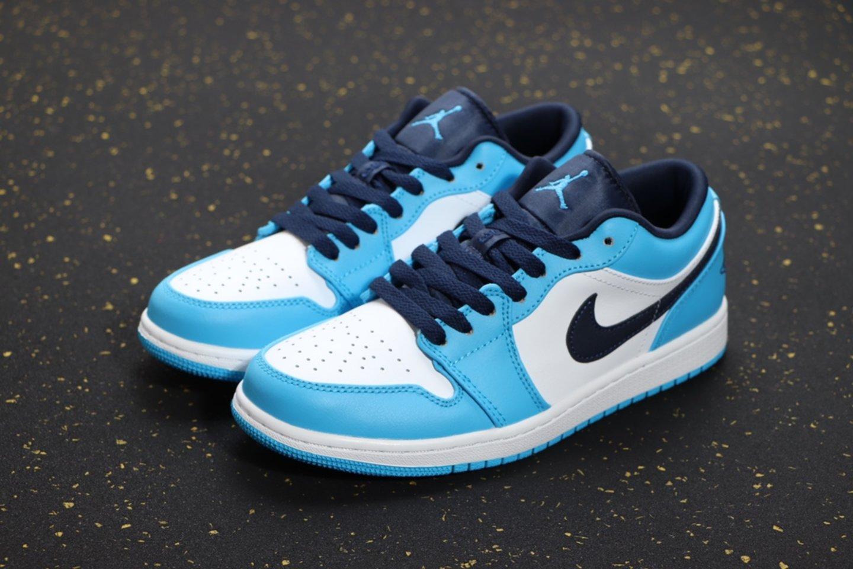 "Fashion Nike Air Jordan 1 Low ""UNC"" Basketball Shoes Sale 553558-144 vamp"