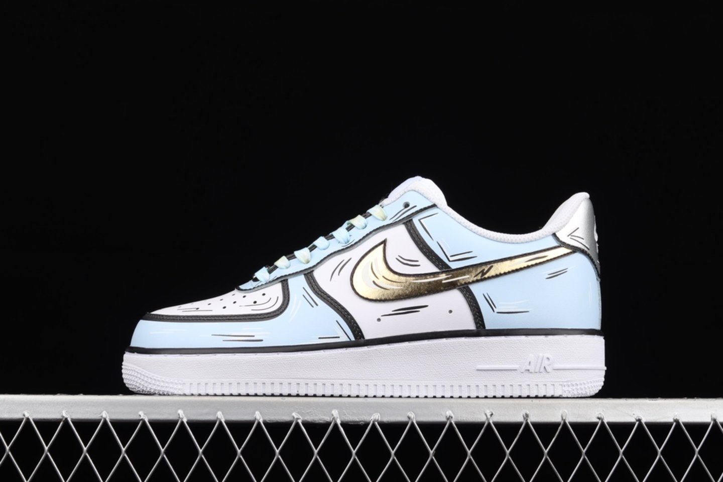 2021 Hot Sale Nike Air Force 1 Low White Blue Gold Online CW2288-212