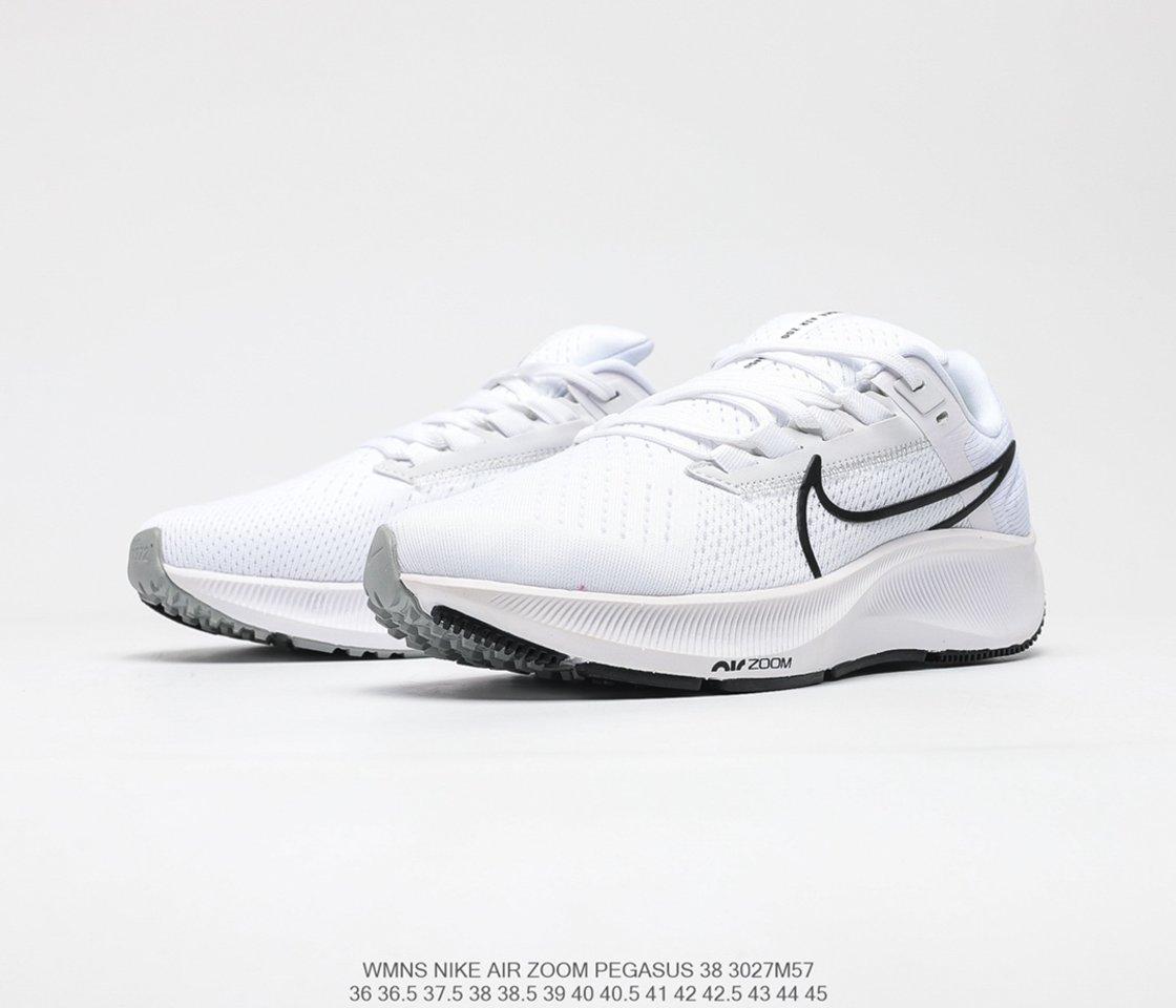 2021 Nike Air Zoom Pegasus 38 White Black Promotion CW7356-100 side