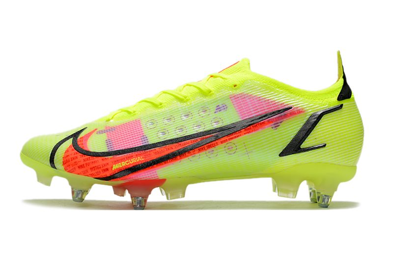 Nike Mercurial Vapor XIV Elite SG PRO Anti Clog yellow and red football shoes side