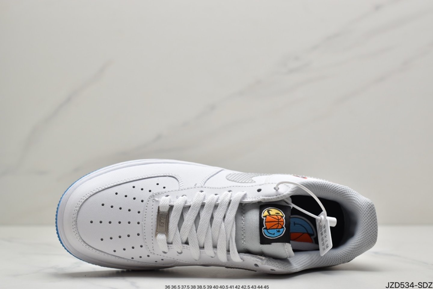 """2021 Nike Air Force 1 Low """"Yin Yang"""" White Multicolor Wolf Gray DM8088-100 shoelace"""